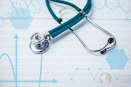 stethoscope and DNA stock image